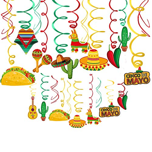 Mexican Foil Hanging Ceiling Swirls Decorations(30 Pcs) Mexican Fiesta Cinco De Mayo Party Supplies Mexican Party Favor Mexican Fiesta Decorations,Mexican Birthday Party Favors Supplies Decorations]()