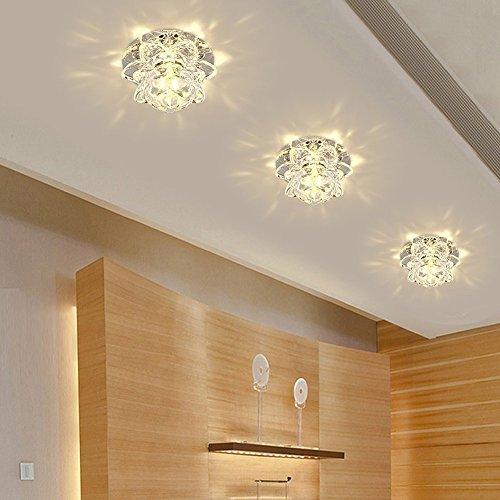 Modern LED Crystal Chandelier Aisle Ceiling Lighting Round Pendant Lamp Balcony Light (Warm Light)