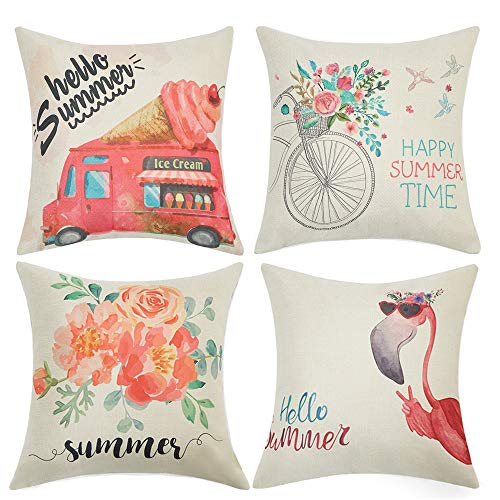 Anickal Summer Decorations Set of 4 Decorative Pillow Covers 18×18 Hello Summer Pink Ice Cream Truck Flamingo Flower…