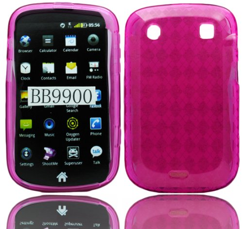 Blackberry Rubber Case - Hot Pink TPU Candy Rubber Case Cover for Blackberry Bold Touch 9900 / 9930 by Electromaster