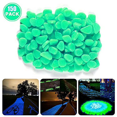 150pcs Glow in the Dark Garden Pebbles for Walkways Outdoor Decor Aquarium Fish Tank Path Lawn Yard, Glow Stone Rocks Garden Decorative Stones(Green) by SOTEN