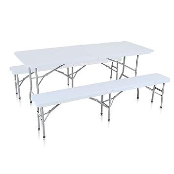 Strattore Ensemble Table 2x Banc de Jardin en Plastique Traiteur Pliante  Table Buffet Picnic Plateau Camping Pliable avec Poignée Modèle 2018