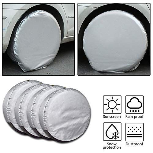 Mr.You Set of 4 Tire Covers,Tire Covers for RV Auto Truck Car Camper Trailer Waterproof Sun-Proof Weatherproof Tire Protectors(Fits 24-26 Inch)