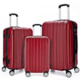 COOMEE Luggage Set 3PCS,ABS +PC Spinner Hardshell lightweight Suitcase Wine Red#
