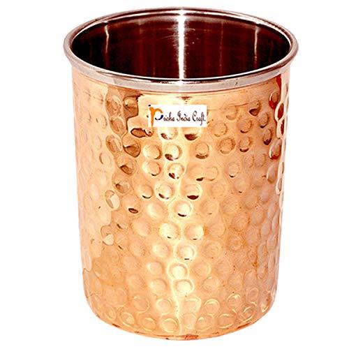 Prisha India Craft Hammered Design Steel Copper Glass Tumbler, Drinkware  amp; Serveware Set, Capacity 250 ML