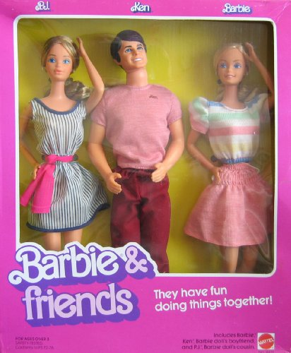(Barbie Vintage Friends Doll Set w P.J., Ken Dolls (1982 Mattel Hawthorne))