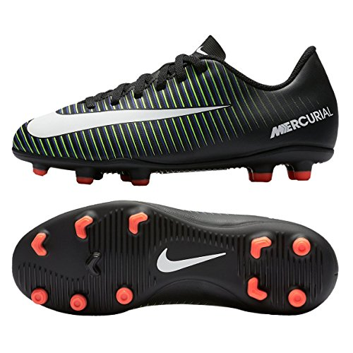Price comparison product image NIKE Kids JR Mercurial Vortex III Fg Black/White Electric Green Soccer Cleat 4 Kids US