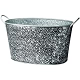 KINDWER Antiqued Vine Relief Oval Party Tub, Silver