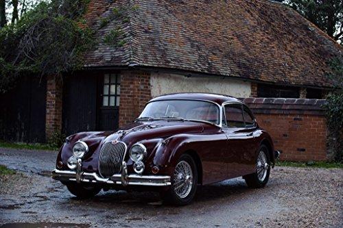 Jaguar XK150 SE Fixed Head Coupe UK-Spec (1961) Car Print on 10 Mil Archival Satin Paper Purple Front Side Static View 16