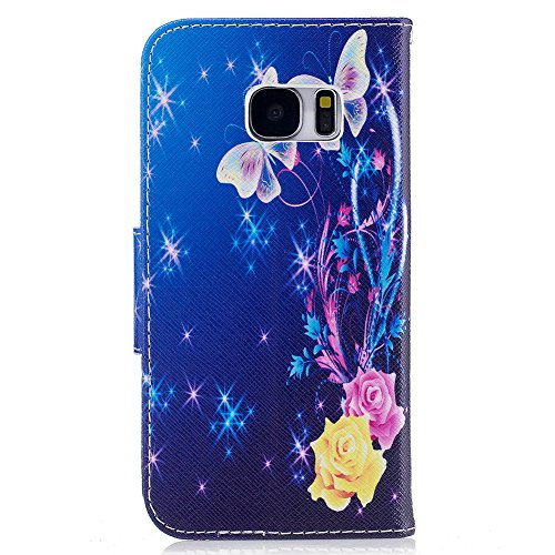 Aeeque Slots Silicone Galaxy S7 Case Wallet SM Ocean inch Bookstyle PU for Marble Shockproof Premium Leather A Holster Pink Samsung Card Kickstand Soft Silver 5 Covers Protection Function Flower Butterfly G930 with 1 Purple r8zqg4r