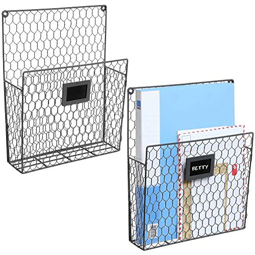 (Set of 2 Wall Mounted Chicken Wire Magazine Organizer Rack with Chalkboard Label, Gray)