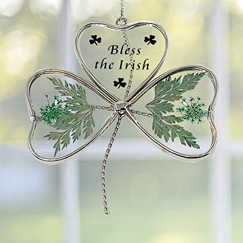 - BANBERRY DESIGNS Irish Sun Catcher - Glass Shamrock Shaped Suncatcher with Green Pressed Flowers - Bless The Irish Printed on Front - 4-Inch