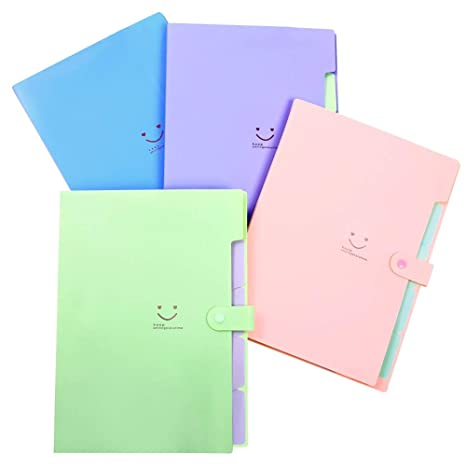 Phyxin Expanding File Folder Office Organizer 5 Pockets Accordion Folder with Labels A4 Letter Size 4 Pack Pink Blue Purple Green