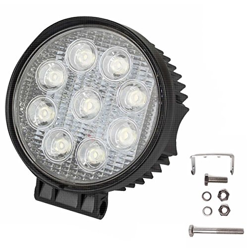 12 Bow Lights (THG 27W LED Round Work Light Lamp Flood Working Jeep Off Road Forklift Bowfishing ATV 12-24V Jeep Fishing Deck Driving Light 2150 Lumen IP67 Waterproof)