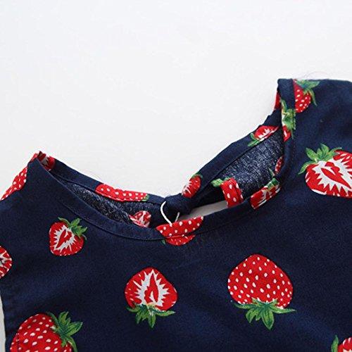 IGEMY Baby Kinder Mädchen ärmelloses Kleid Strawberry Print Sommerkleidung Navy