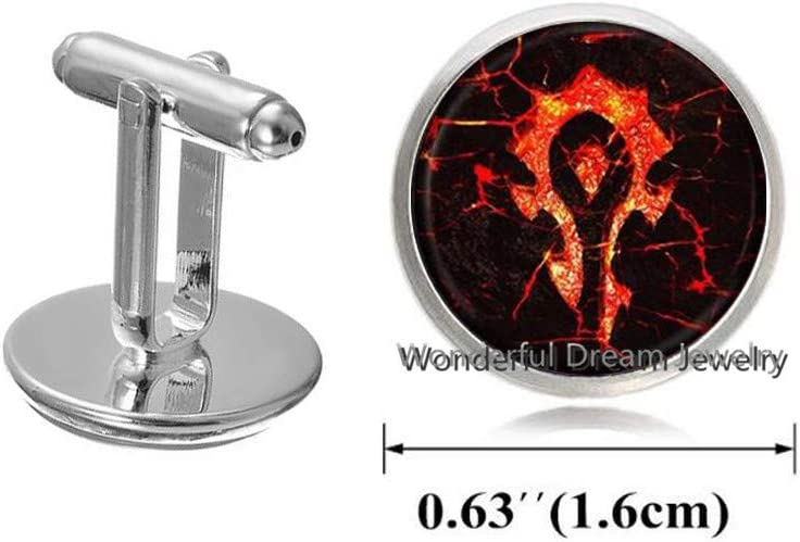 Waozshangu Horde Symbol Logo Cuff Links Cufflinks Glass Cabochon Movie Jewelry Cufflinks for Women Men Gift,PU305
