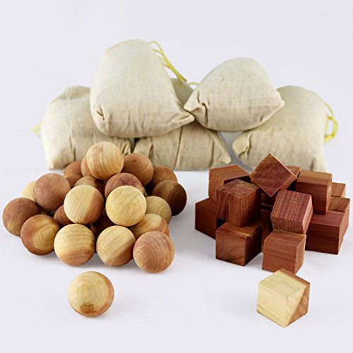 Aszaro Cedar Balls, Cedar Cubes & Cedar Sachets 40 pc Combo Pack | 20 Natural Cedar Wood Balls, 20 Blocks & 5 Bonus Sachets | Ward Off Moths, Mildew And Mustiness For Easy Garment Care