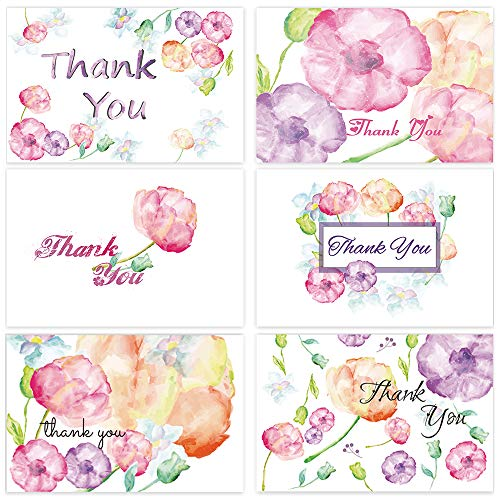 Floral Thank You Cards Flower Blank Greeting Notes Wedding Baby Bridal Shower Graduation on the Inside Business Anniversary 48-Count 4 x 6 inch with White -