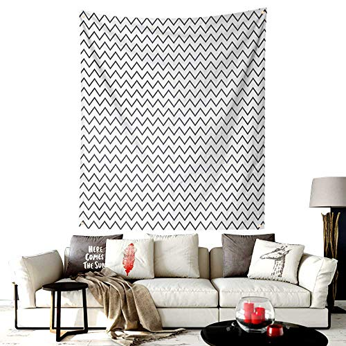 - Custom Made Bayeux Tapestry Embroidery,Zig Zag Chevron Lines Angled Stripes Wave Sealife Theme Like Repeating Pattern Image,Wall Hanging For Bedroom Living Room Dorm,36W X 48L Inches Grey White