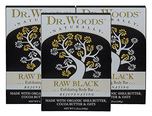Dr Woods Black Soap (Dr. Woods Raw Black Exfoliating Body Bar with Organic Shea Butter, 5.25 oz (Pack of 3))