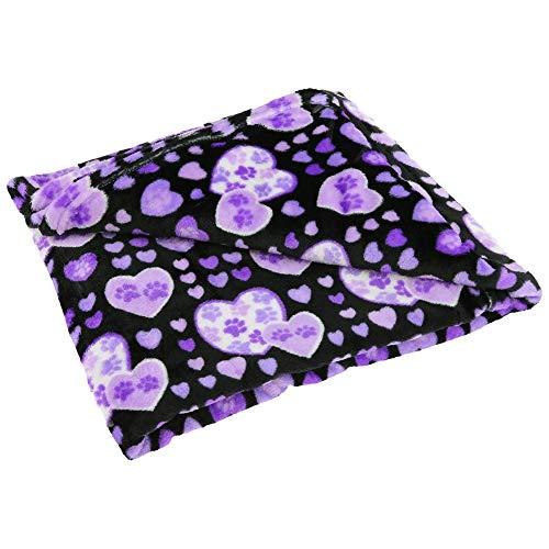 GreaterGood Super Cozy Fleece Paw Print Throw Blanket (Purple - Paw Fleece Print Large