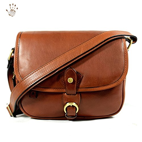 Dream Leather Bags Made in Italy Piel Verdadera Bolso De Bandolera En Piel Verdadera Para Mujer Color Marrón - Peleteria Echa En Italia - Linea Prestige