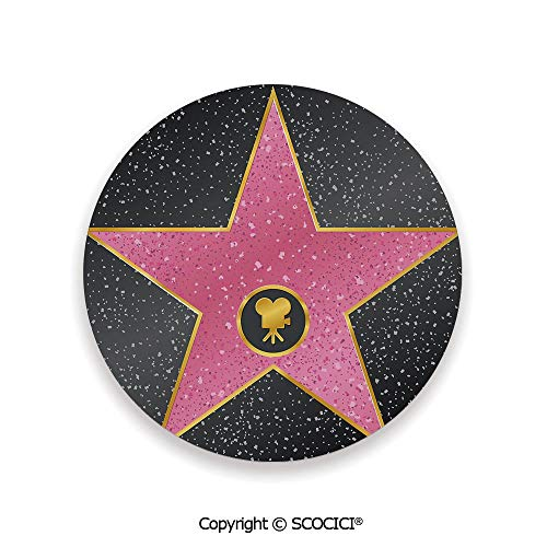 Coaster For Drinks With Vibrant Colors And Cork Backing, Ceramics with cork bottom, Circle area coaster,Popstar Party,Hollywood Walk of Fame Symbol Celebrity,3.9