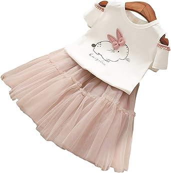 Ragazza T-Shirt e Gonna 2 Pezzi Princess Rainbow Vestito Gonna a Rete Vestito 1-6 Anni