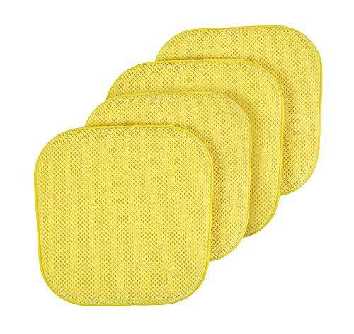GoodGram Premium Soft Surface Ultra Comfort Non-Slip Kitchen & Dining Curved Memory Foam Chair Cushions - Assorted Colors (Yellow, 4 Pack) (Cushions Yellow Large)