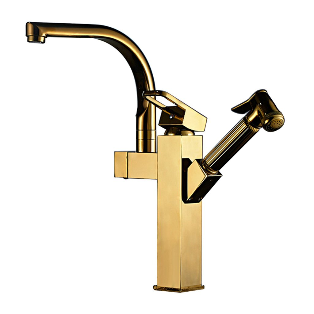 H TANG CHAO Faucet Pull-type Hot And Cold Tap Kitchen Sink Copper Retractable redatable Sink Sink Household Bathroom Bathroom Sink Faucet (color   J)