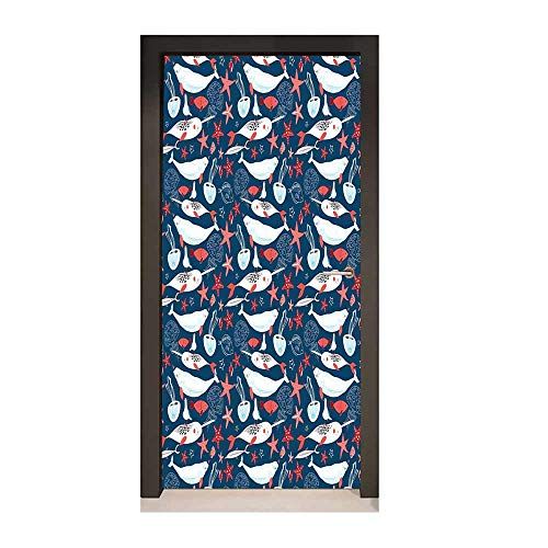 Homesonne Narwhal 3D Door Wallpaper Arctic Ocean Fauna with School of Fish Narwhal and Jellyfish Sketch Art Door Decals Royal Blue Coral Baby Blue,W23.6xH78.7
