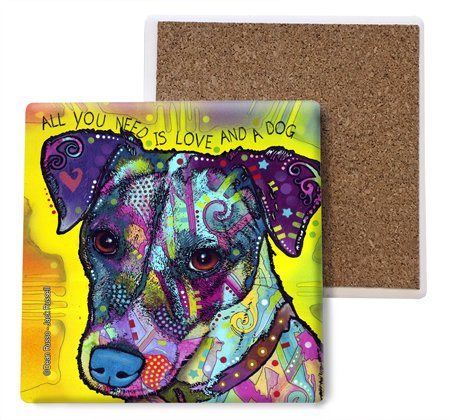 - SJT ENTERPRISES, INC. Jack Russell - All You Need is Love and a Dog Absorbent Stone Coasters, 4-inch (4-Pack) Features The Artwork of Dean Russo (SJT07023)
