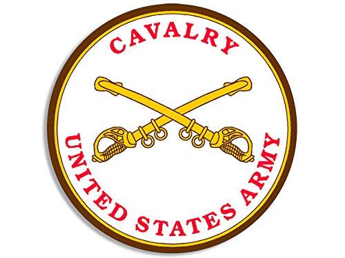 Cavalry Sticker - American Vinyl Round US Army Cavalry Seal Sticker (Military Insignia Logo)