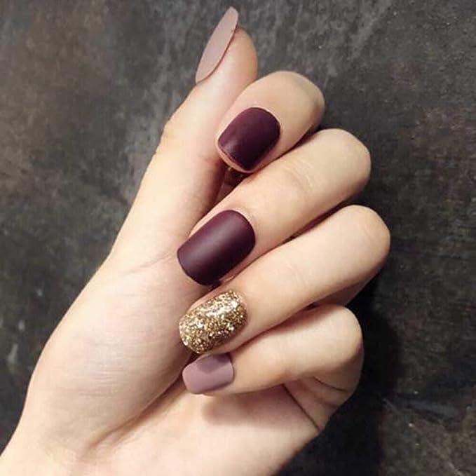 Púrpura gris/oro falsas uñas cubierta completa uñas artificiales consejos falsas uñas: Amazon.es: Belleza