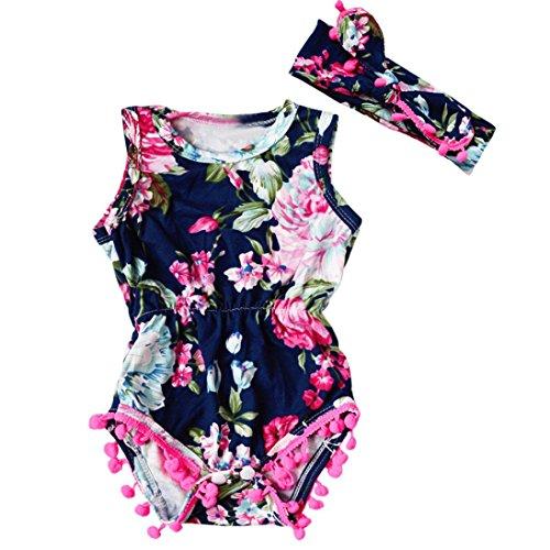Romper Adorable - IEason Newborn Toddler Kid Baby Girl Print Romper Jumpsuit Sunsuit+Headband Clothes Set (12-18 Months, Dark Blue)