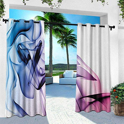 Hengshu Abstract, Indoor/Outdoor Single Panel Print Window Curtain,Abstract Artwork with Colorful Smoke Dynamic Flow Swirl Contemporary Artwork, W120 x L84 Inch, Fuchsia Blue