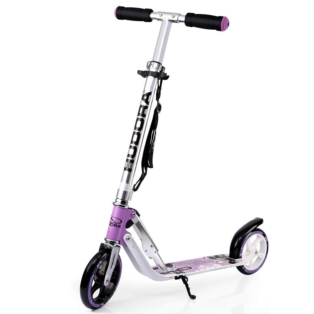 HUDORA 180 (14746) Foldable Kick Scooter Height Adjustable Aluminum Scooters with Big PU Wheels by HUDORA