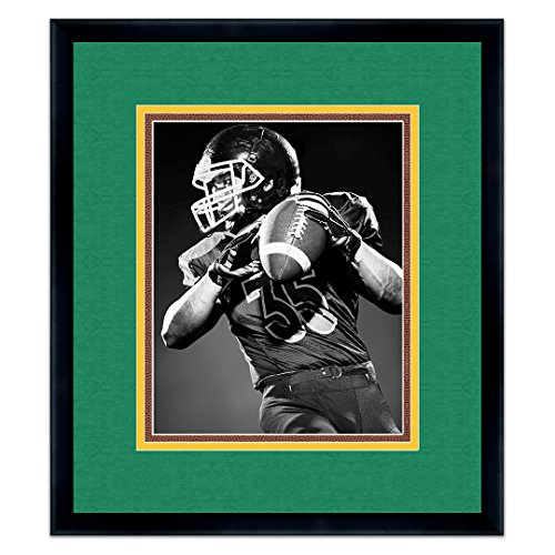 Dark Green Frame - Black Wood Frame For 8x10 Photos with a Triple Mat - Dark Green , Gold, and Football Textured Mats
