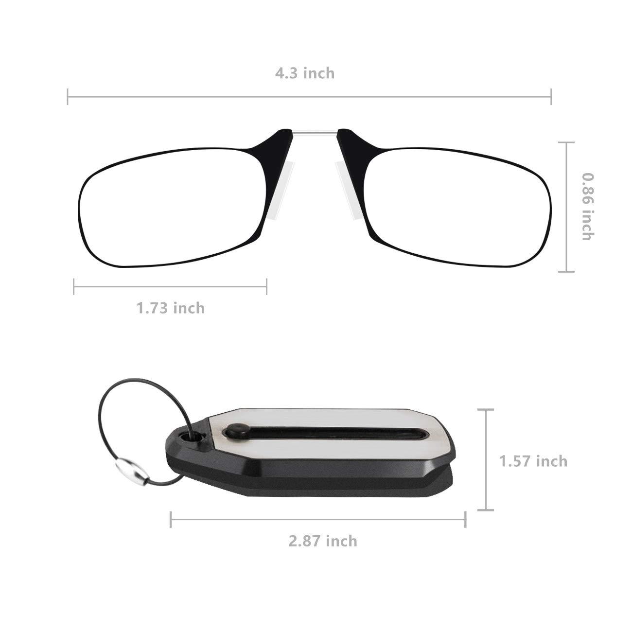 f2dc06b634c7 Amazon.com  Keychain Reading Glasses Mini Readers Glasses Nose Clip Folding  Reading Glasses Presbyopic Eyeglasses for Men Women
