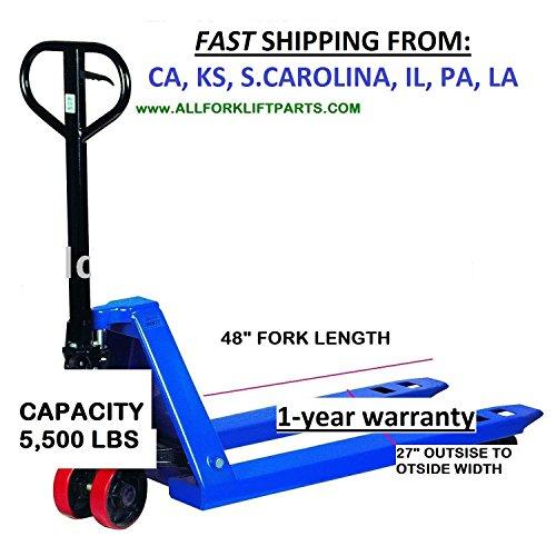 PALLET JACK 27x48. CAPACITY - 5,500 Lbs. HAND PALLET TRUCK STANDARD. - Hand Pallet Truck