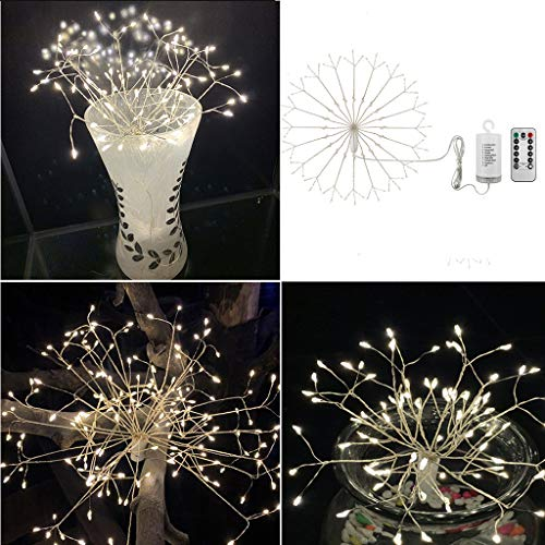 (❤️❤️Jonerytime❤️❤️Firework Lights LED String Lights 8 Modes Dimmable Fairy Lights with Remote Control (White))