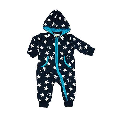 Baby Overall Jungen dunkelblau | Motiv: Sterne | Marke: Petter & Kajsa | Babystrampler mit Sternmotiv für Neugeborene & Klein