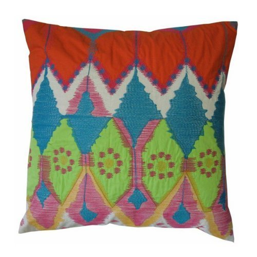 Koko Java Bright Ikat Inspired Embroidery and Applique Cotton Pillow, 20 by 20-Inch, Orange/Blue/Lime
