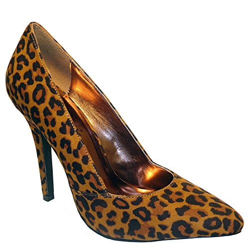 Bellini Leather Pumps (Bellini Women's Vibe Fashion Pumps, Animal Print Faux Leather, Synthetic, 8.5)