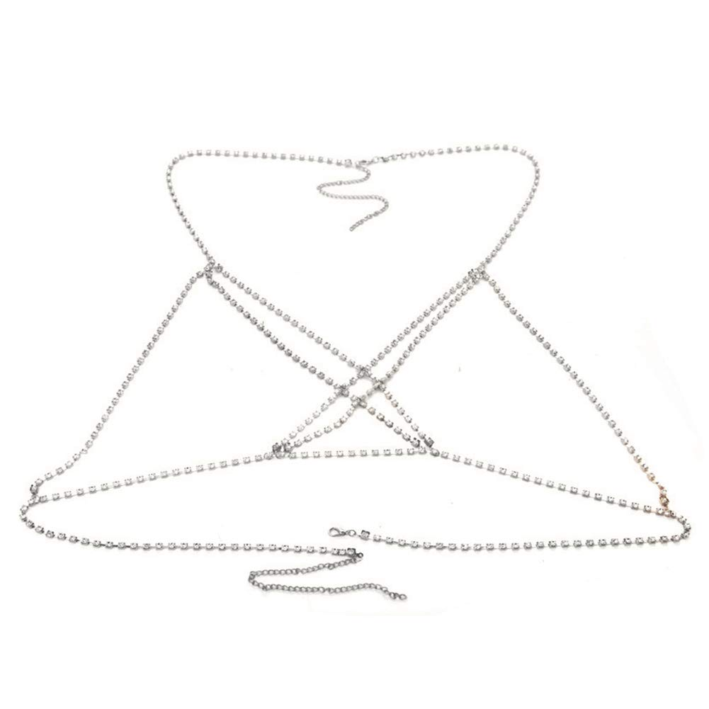 WillowswayW Stylish Full Rhinestone Bikini Harness Bra Chest Body Chain Women Necklace Party Beach Jewelry