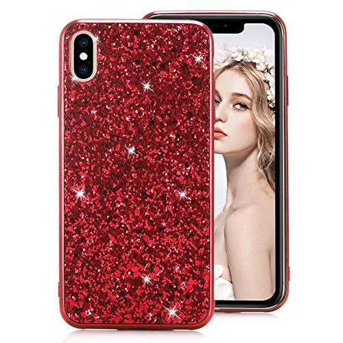 Shiny Sparkly Case for iPhone 7 [with HD Screen Protector],MOIKY Luxury Bling Glitter Gel TPU Silicone Scratchproof Ultra Thin Soft Bumper Protective Case for iPhone 7/iPhone 8,Red ()