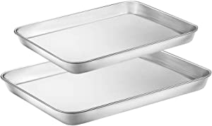 WEZVIX Stainless Steel Baking Sheet Set of 2 Toaster Oven Pan Tray Cookie Sheet 12 & 16 inches, Non Toxic & Healthy, Rust Free & Less Stick, Thick & Sturdy, Easy Clean & Dishwasher Safe