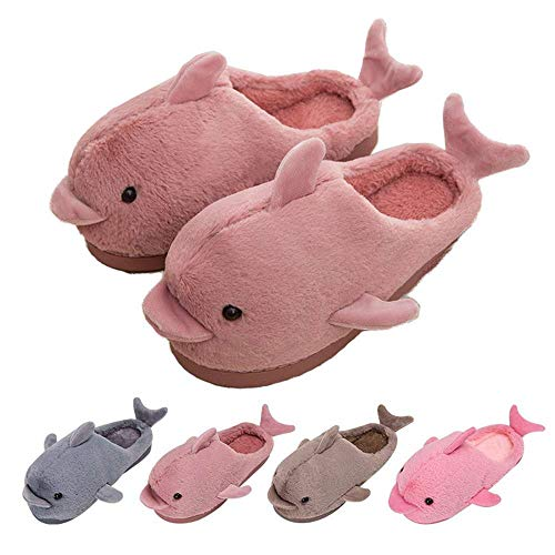 Womens Home Slippers Cute Funny Dolphin Plush Soft Indoor House Shoes Gifts