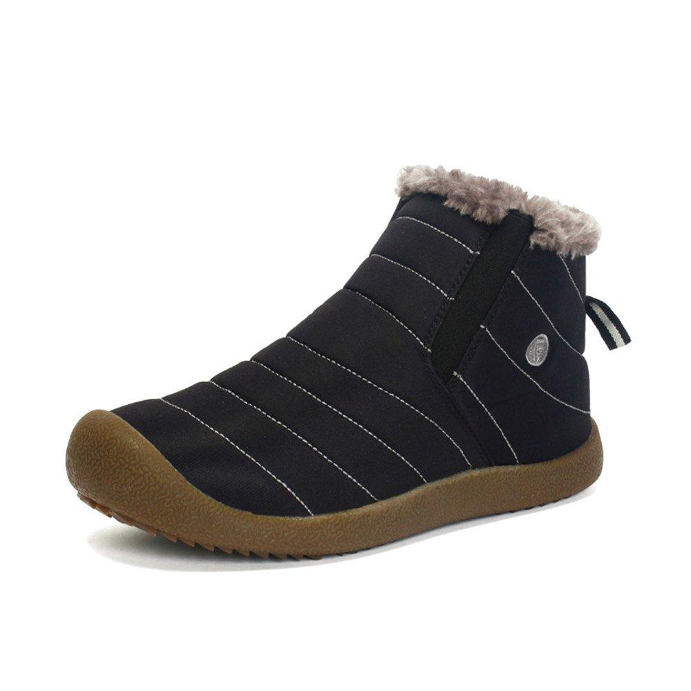 Cooga Women's Waterproof Flat Snow Boots Plus Velvet Winter Lace up Cotton Platform Sneaker Shoes Black 11 B(M)