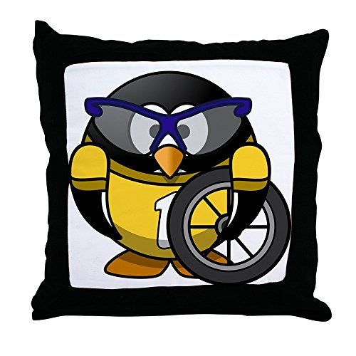 Throw Pillow Little Round Penguin - Cyclist in Yellow Jersey